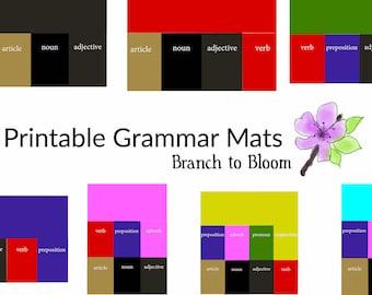 Printable, Montessori Grammar Box Mats, Montessori Language, Montessori Homeschool, Montessori Grammar Download, Montessori Elementary,