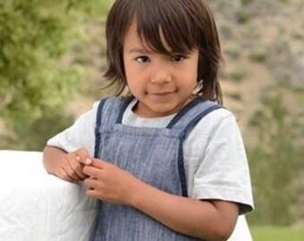 Blue Linen Apron, Pinafore Apron, Personalized Gift, Linen Apron, Montessori Material, Gift for Child ,Montessori, Montessori Practical Life