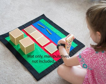 Montessori, Mat for Place Value, Montessori Materials, Montessori Mat, Place Value, Montessori Math, Teaching  Resource, Golden Bead Mat