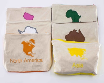 """Large 9x12"""" Montessori Continent Box Pouches, Montessori Geography, Montessori Homeschool, Montessori Materials"""