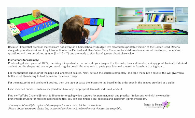 Montessori Golden Bead Material Montessori Printable image 0