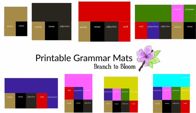 Printable Montessori Grammar Box Mats Montessori Language image 0