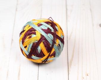 Retro stripes, self striping yarn, sock, burgundy, sage, orange, hand dyed yarn