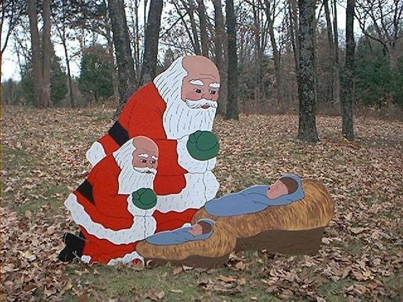 Small Santa Praising Kneeling Praying Before Manger Crib With Etsy