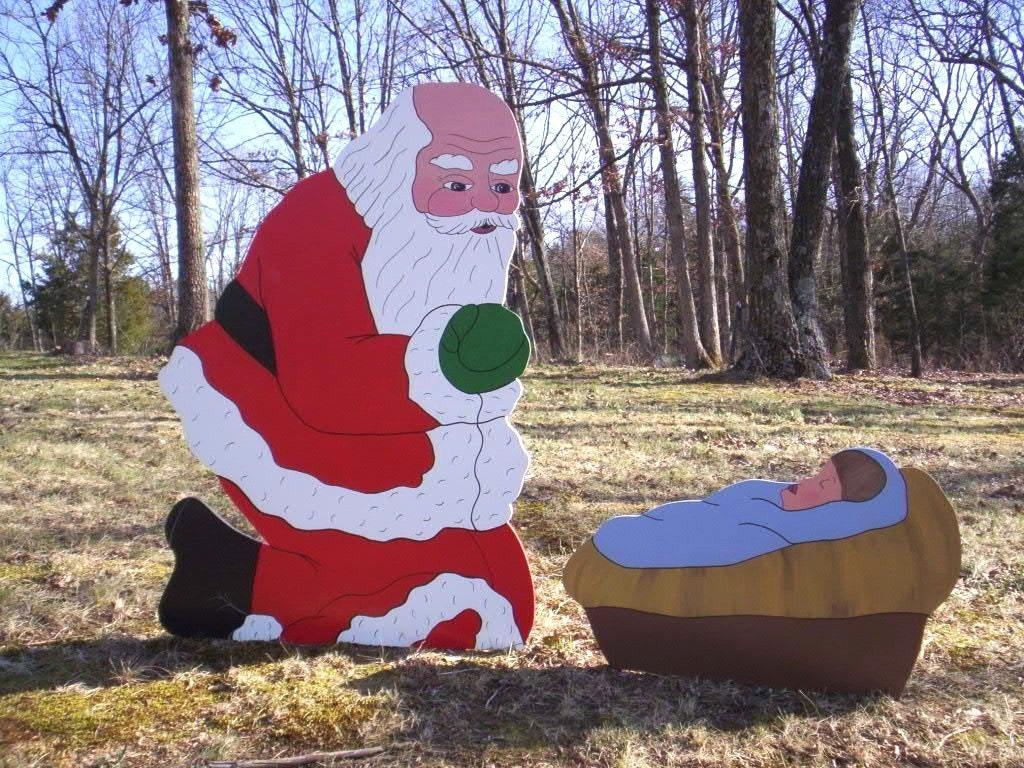 Santa Praising Kneeling Praying Before Manger Crib With Baby Etsy