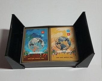 ON SALE New York 64 - 65, Worlds Fair Souvenir, Playing Cards, Plastic Coated, 2 Decks in Case, Vintage Collectible