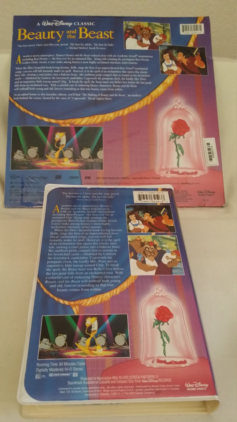 Beauty and, The Beast, CAV Letterbox, Laserdisc, New Sealed, Plus Bonus,  VCR copies of, Fantasia, and & Beauty and the Beast slightly used