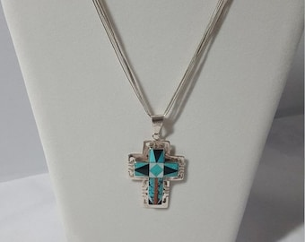 ON SALE Pendant Necklace, Southwest Jewelry, Turquoise, Stone Inlay, Sterling Silver, Liquid Silver, Double Cross , Vintage, Signed
