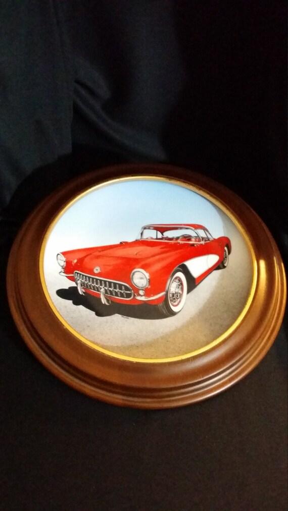 1957 Corvette Collectible Plate Vette Vintage Car Wooden