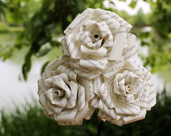 Book Roses - Paper Flowers - Literary Flowers - Classic Lit - Recycled Books - Book Lover Flower - Wedding Bouquet - Graduation Gift