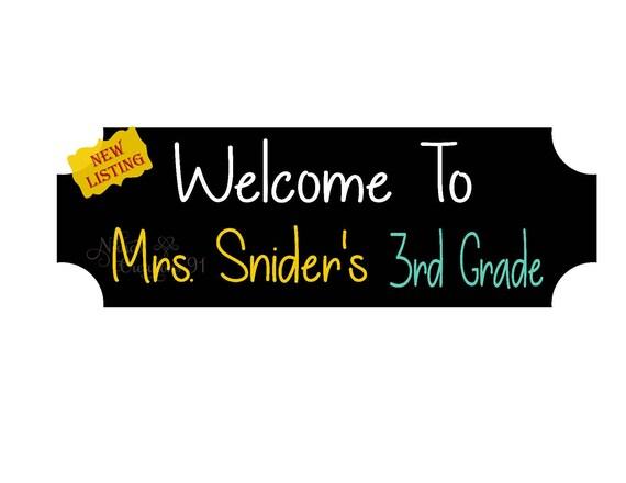 teachers door sign welcome door sign third grade teacher etsy