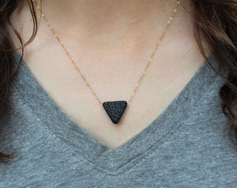 Lava Stone Necklace · Triangle Lava Stone Necklace · Essential Oil Diffuser Necklace · Aromatherapy Necklace · Triangle Necklace · Lava Rock