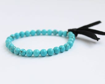 Essential Oil Diffuser Gemstone Bracelet with Leather Tassel · Aromatherapy