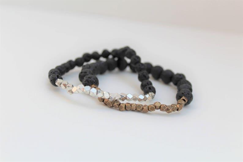 Minimalist Lava Bead Essential Oil Diffuser Bracelet \u00b7 6mm \u00b7 Brass or Silver Faceted Cube Accents \u00b7 Aromatherapy