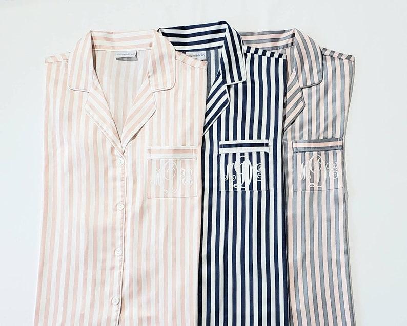 Pajama Short Set Blush and Ivory Striped Pajamas Monogram Pajama Set