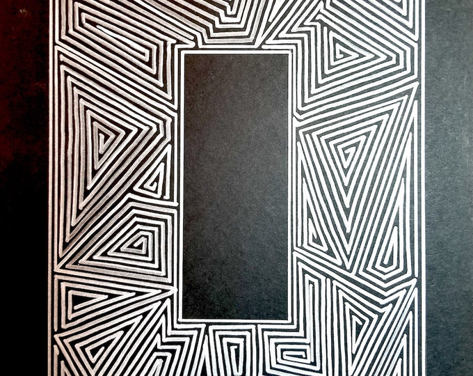 "Maze Drawing, Labyrinth, Symmetrical art, Silver Pattern on Black Paper, Magik Rectangle 9""x12"", Portal, Art for the Office, Home Decor"