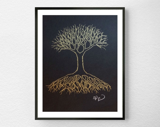 "Gold Tree, OOAK 8""x10"" Artwork, Original Metallic Gold Ink on Black Paper, Modern Wall Decor, Tree of Life"