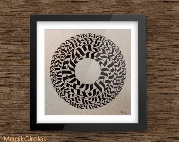 Original Calligraphy Wall Art, Spiritual Mandala Meditation Circle Art, Minimalist Art, Black Ink, Home Decor, Hand drawn, Abstract artwork