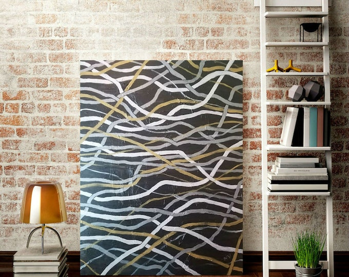 "Original Large Abstract Painting, Hand painted Acrylic on Canvas, ""Electricity"", 36""x48"", One-of-a-Kind, Home Decor, Urban, Signed Art"