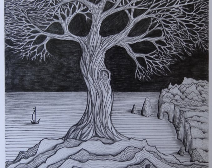 "Tree art, 8""x10"" Pencil / Graphite Illustration, Archetype, Nature Wall or Office Decoration, Black and White Line Art, Detailed Drawings"