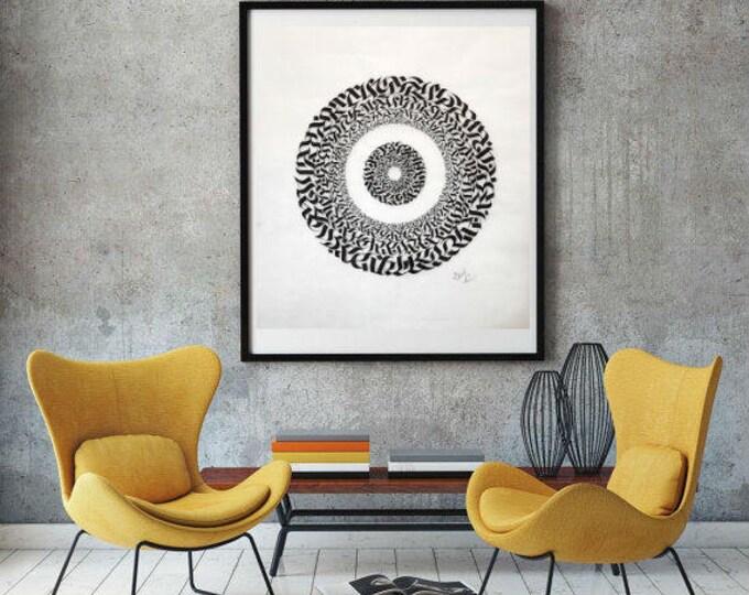 Original Calligraphy Mandala, Home Decor, Unique Wall Art, Black Ink Art, One-of-a-Kind Art, Signed Art