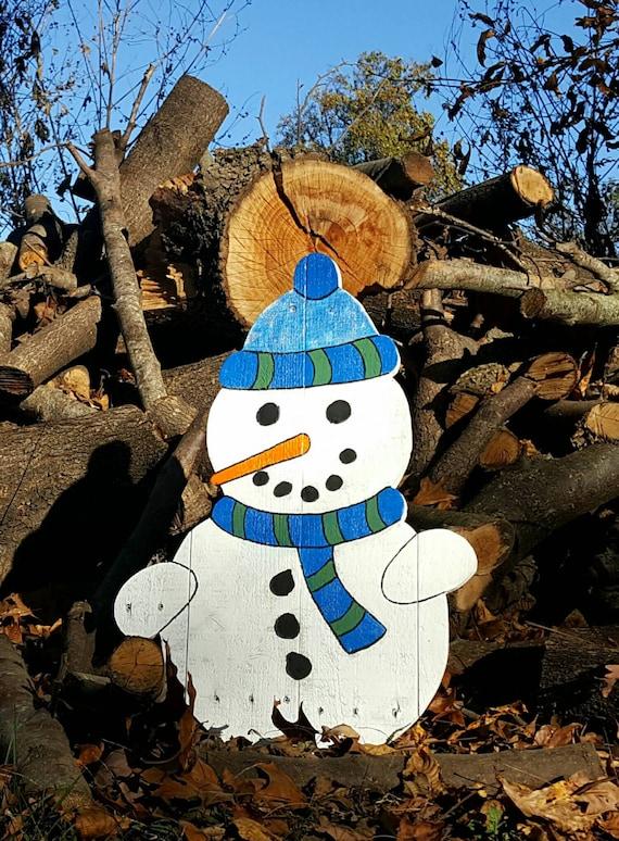 Handmade Wood Snowman Wooden Snowman Pallet Snowman Christmas Decor Outdoor Christmas Decor