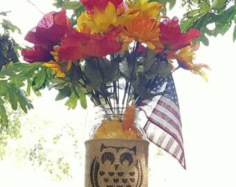 Decorative mason jar, Owl burlap jar, Country home decor, burlap mason jars, storage and organization
