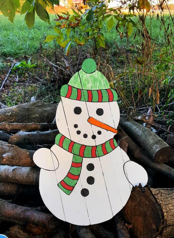 Pallet Snowman Outdoor Christmas Decor Holiday Decor Wood Snowman