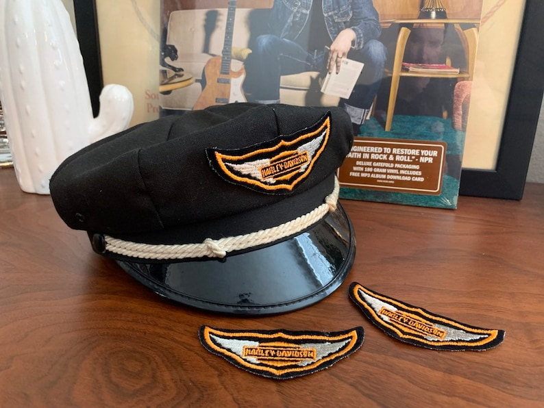 50s 60s Vintage Harley Davidson Captains Hat Patch (PATCH ONLY)