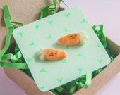 ceramic carrot earrings, miniature food clay jewelry