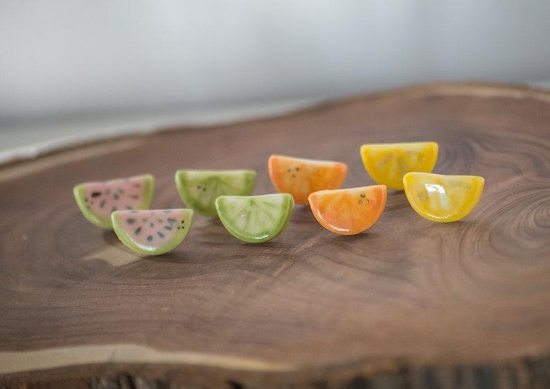 ceramic citrus earrings lemon lime orange clay miniature image 0