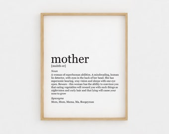 Gift for Mom Mother definition Mothers Day Gift Printable