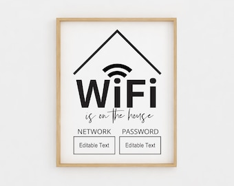photograph relating to Free Printable Wifi Password Template referred to as Wifi pword Etsy