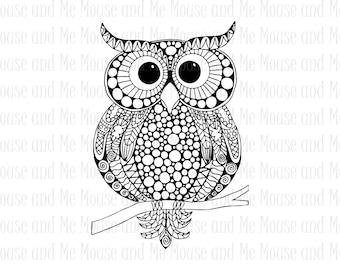Night Owl Digital Stamp, Printable Adult Colouring Download