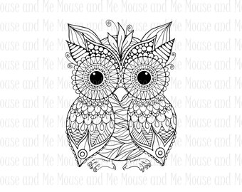 Busy Owl Digital Stamp, Printable Adult Colouring Download