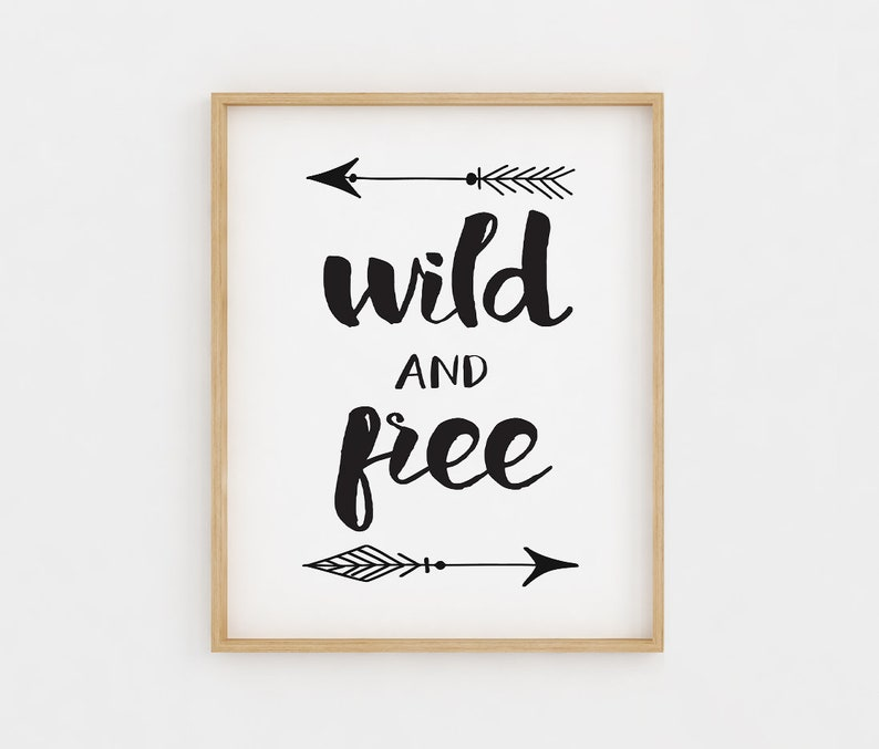 photograph regarding Free Printable Wall Art Black and White known as Wild and no cost, Printable Wall Artwork, Black and white, Woodland Nursery Decor, Little one Shower Present, Nursery Wall Artwork, Electronic Artwork Print