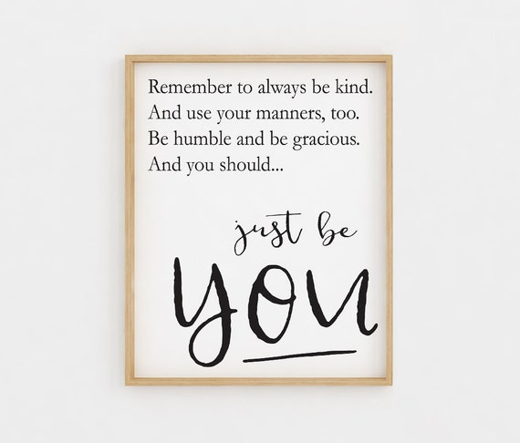 Printable Wall Art Be Kind Quote Inspirational Quotes Etsy