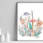 ORIGINAL WATERCOLOR, EMBROIDERY, art, original painting, watercolour, unique, floral, mushrooms, garden, nature, wall art, watercolor art