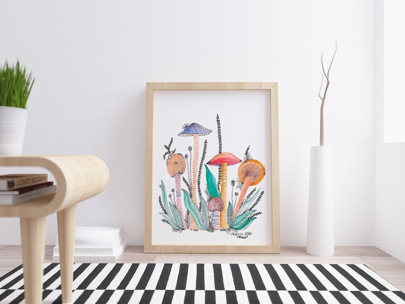 Fine Art MUSHROOMS PRINT WATERCOLOR / Wall Art Forest and image 0