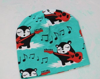 SALE Hat with bears and guitars in turquoise. Made from organic cotton jersey knit, size 12 months - 3 years