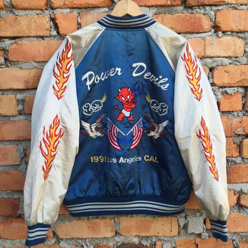Vintage 90s SUKAJAN Power Devils USA los angeles jacket