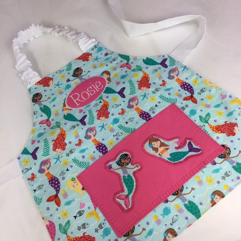 Mermaid Personalised Kids Apron. Also Adult Sizes Appliqué Pink