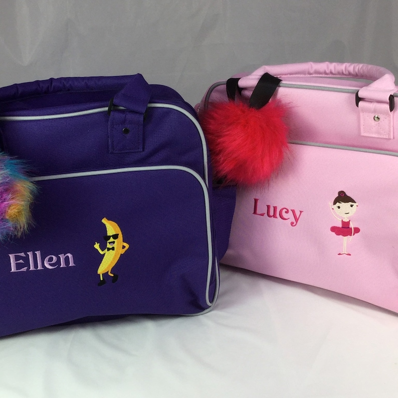 Personalised Dance Bag. Embroidered Name & Pom Pom Key Ring image 0