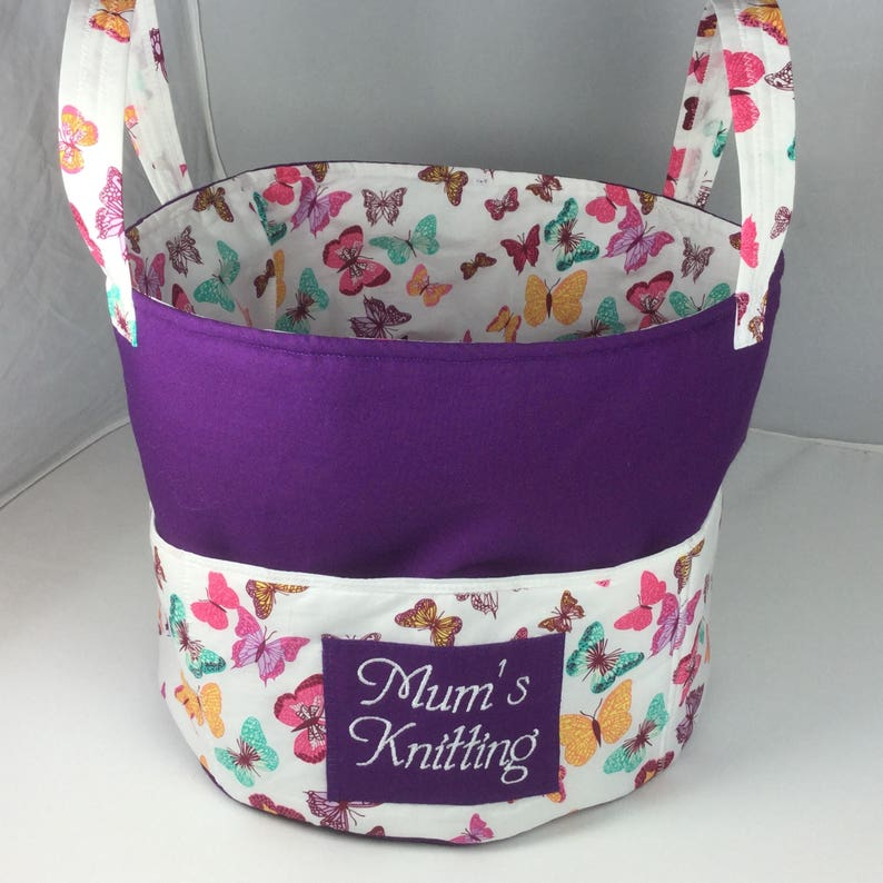 Handmade Knitting Bag Toy Basket Butterfly Storage Bin Also image 0