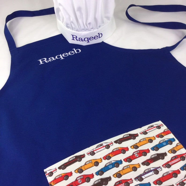 Personalised Apron & Chef Hat Set With Optional Pocket In image 0