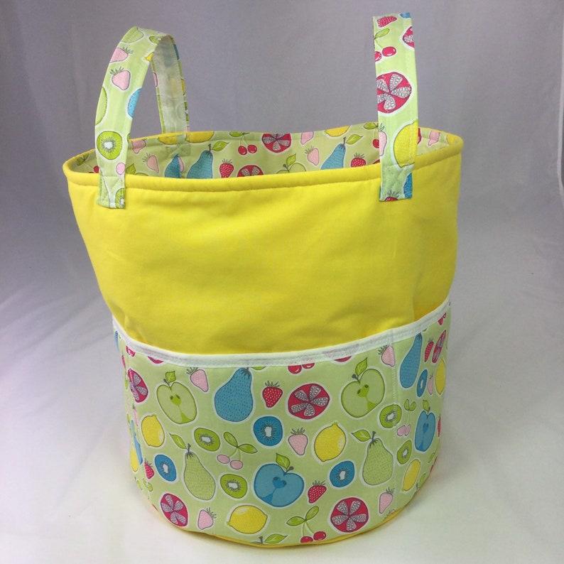 Handmade Knitting Bag or Pesonalised Storage Bin for wool or Yellow