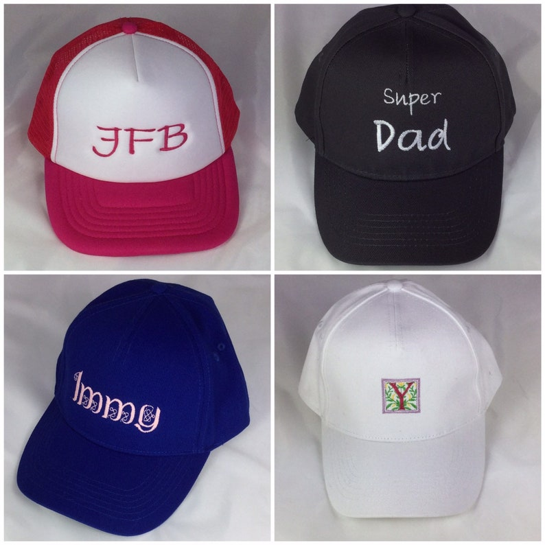 Embroidered personalised caps: Junior or adult sizes. Choose image 0