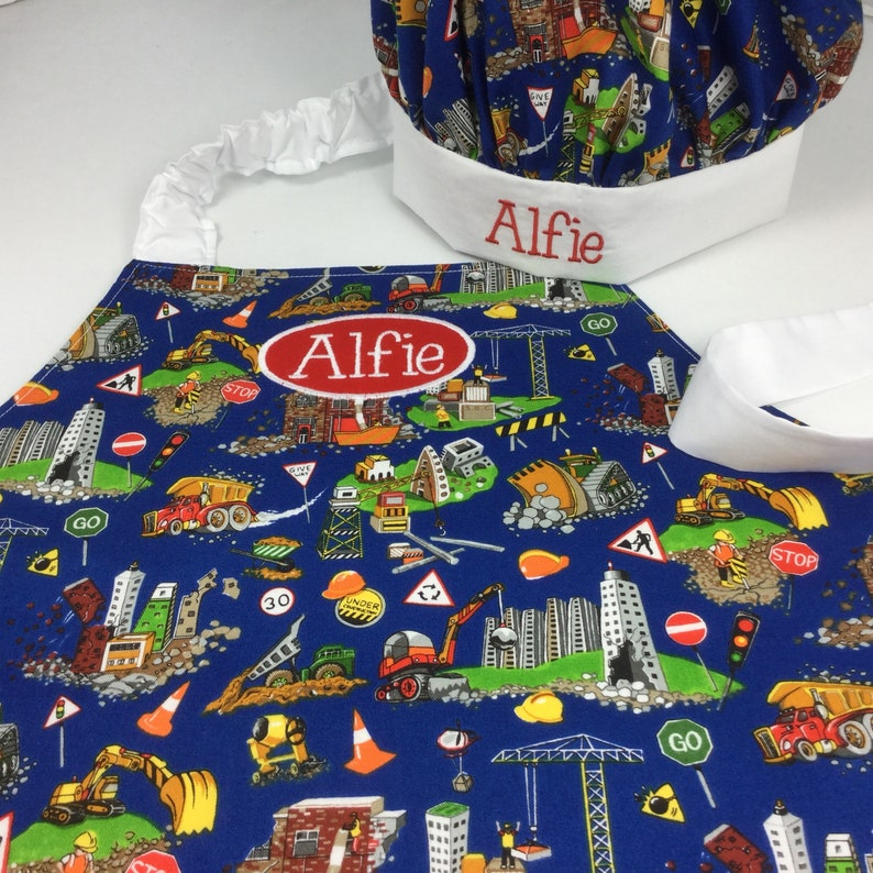 Kids Personalised Apron With Trucks Diggers & Builders. You image 0