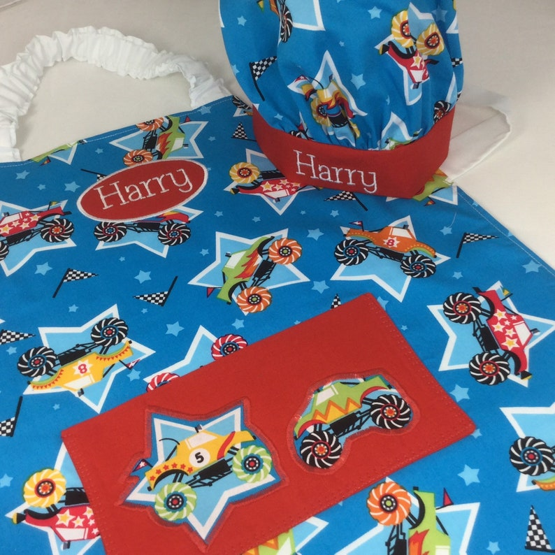 Boys Personalised Apron With Monster Trucks. You Can Choose image 0