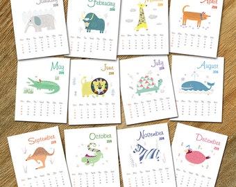 Sale 50% off, 2018 Printable calendar, animal calendar, Kids Gift, Kids Wall Art, INSTANT digital DOWNLOAD,12 Monthly planner